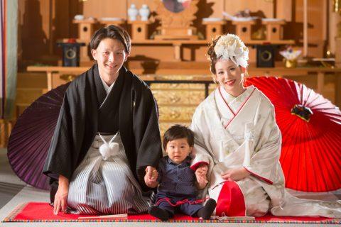和装 花嫁 家族 フォト 神殿 写真 前撮り