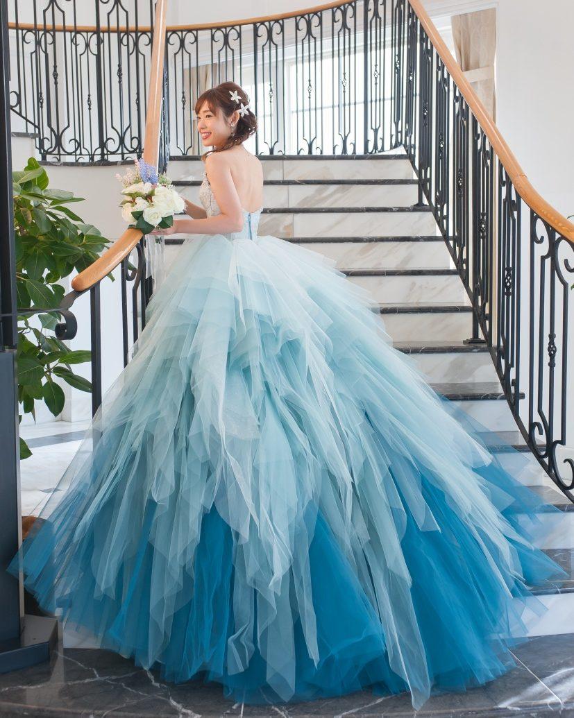 カラードレス ディズ二ー 水色 かわいい アリエルドレス