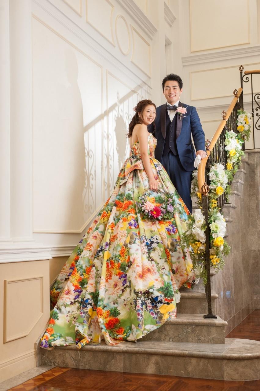 カラードレス 蜷川実花 グリーン プリントドレス かわいい