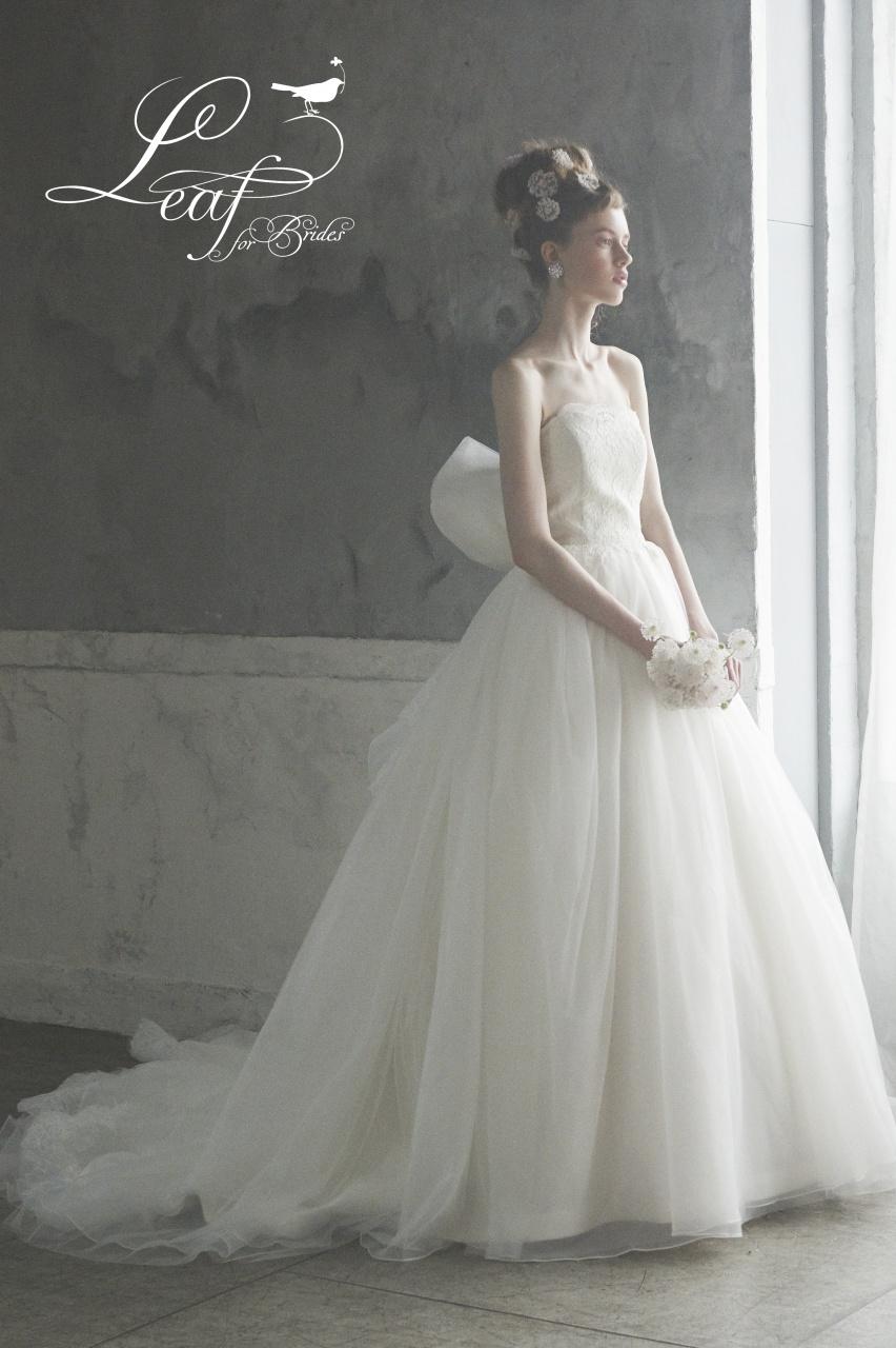 リーフ 新作ドレス 可愛い おしゃれ カラードレス ウエディングドレス
