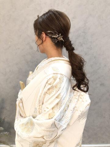 和婚 和装 結婚式 白無垢 ヘアーアレンジ イエベ 秋 ナチュラル