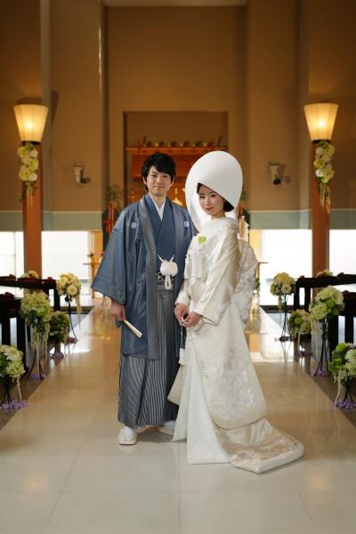 0S3A3445 神前挙式 白無垢 綿帽子 洋髪 ベルナール鶴岡神殿