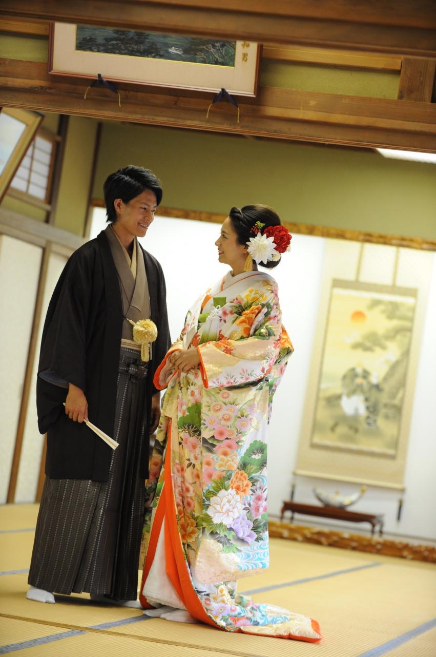 打掛 色 紋付袴 新郎 新婦 花婿 花嫁 プレ花嫁 洋髪 和婚 和装 花嫁和装