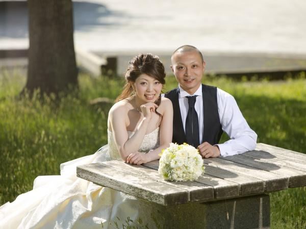 白 ドレス タキシード ガーデン ロケ 撮影 ウェディング ジル