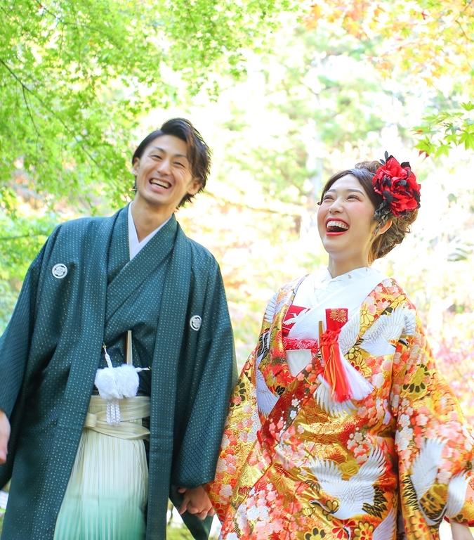 緑 グリーン 新郎 和装 花嫁和装 日本の花嫁 ゴールド 打掛