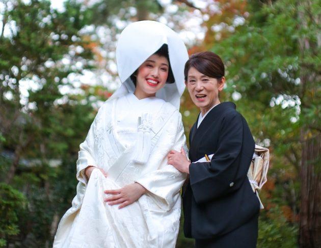 母 娘 花嫁 和装 着物 かつら 白無垢 黒留袖