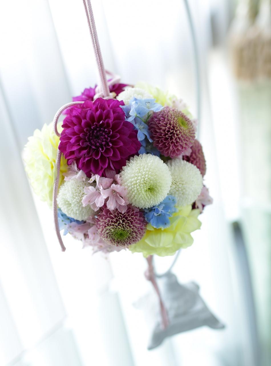 ブーケ ボールブーケ 和装 ころん 丸い かわいい 和風 花嫁 プレ花 花嫁アイテム 白 紫 ピンク 黄色 ブルー グリーン