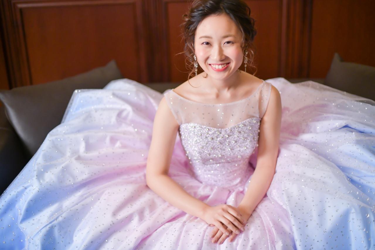 KH0016 キヨコハタ カラードレス スパンコール キラキラドレス ピンクドレス グラデーションドレス